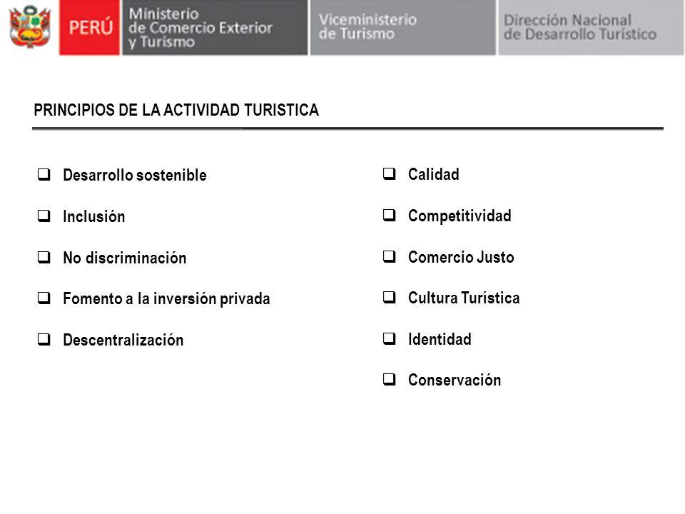 PRINCIPIOS DE LA ACTIVIDAD TURISTICA Desarrollo sostenible Inclusión No discriminación Fomento a la inversión privada Descentralización Calidad Compet