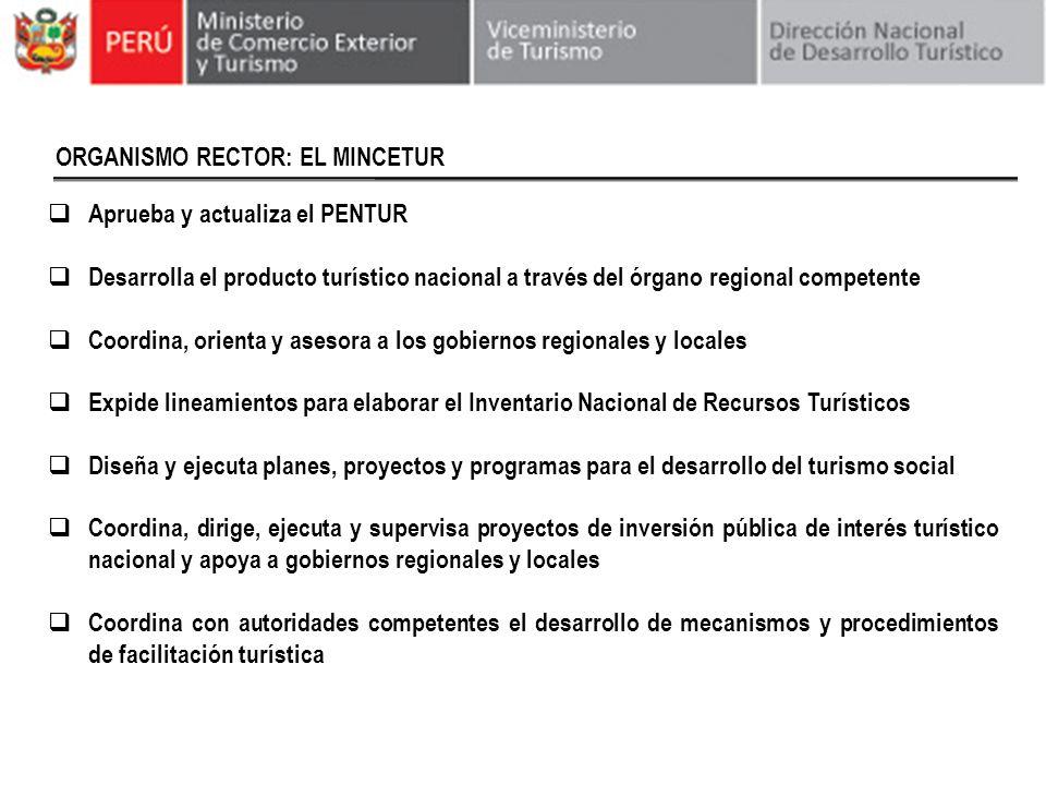 ORGANISMO RECTOR: EL MINCETUR Aprueba y actualiza el PENTUR Desarrolla el producto turístico nacional a través del órgano regional competente Coordina
