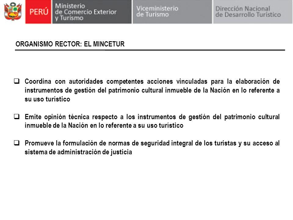 ORGANISMO RECTOR: EL MINCETUR Coordina con autoridades competentes acciones vinculadas para la elaboración de instrumentos de gestión del patrimonio c