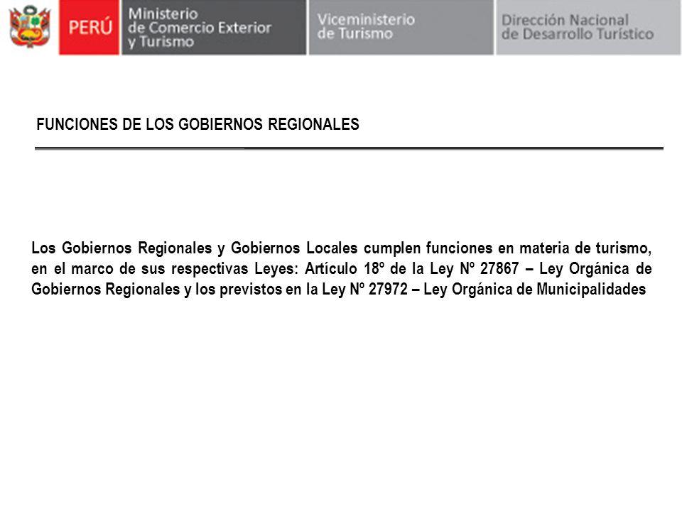 FUNCIONES DE LOS GOBIERNOS REGIONALES Los Gobiernos Regionales y Gobiernos Locales cumplen funciones en materia de turismo, en el marco de sus respect