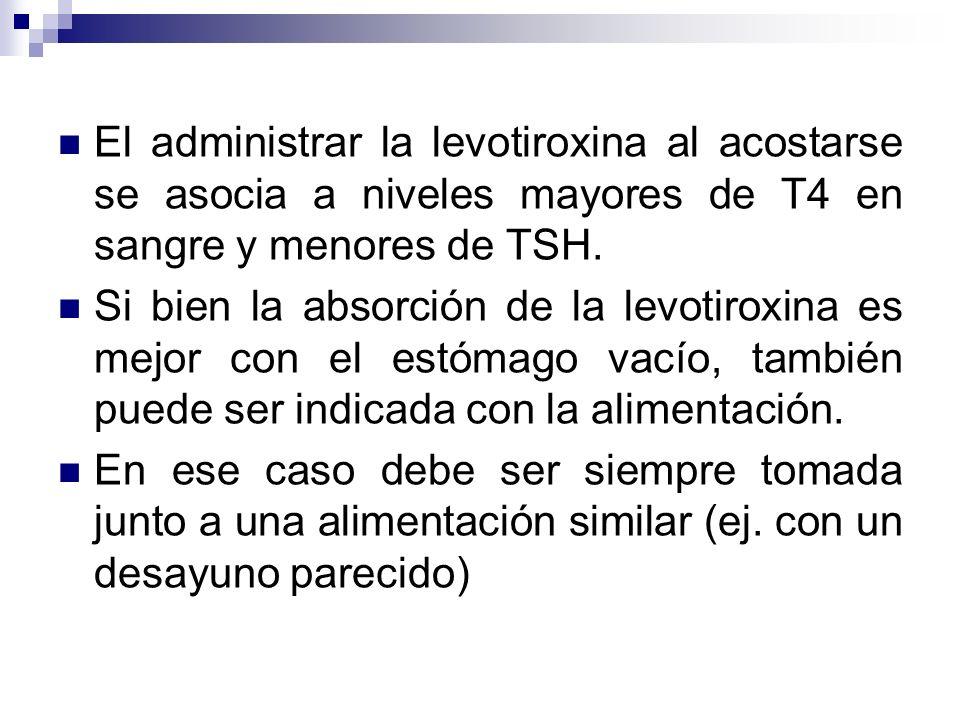El administrar la levotiroxina al acostarse se asocia a niveles mayores de T4 en sangre y menores de TSH. Si bien la absorción de la levotiroxina es m