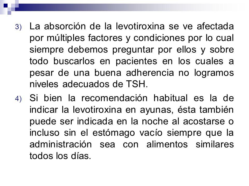 3) La absorción de la levotiroxina se ve afectada por múltiples factores y condiciones por lo cual siempre debemos preguntar por ellos y sobre todo bu