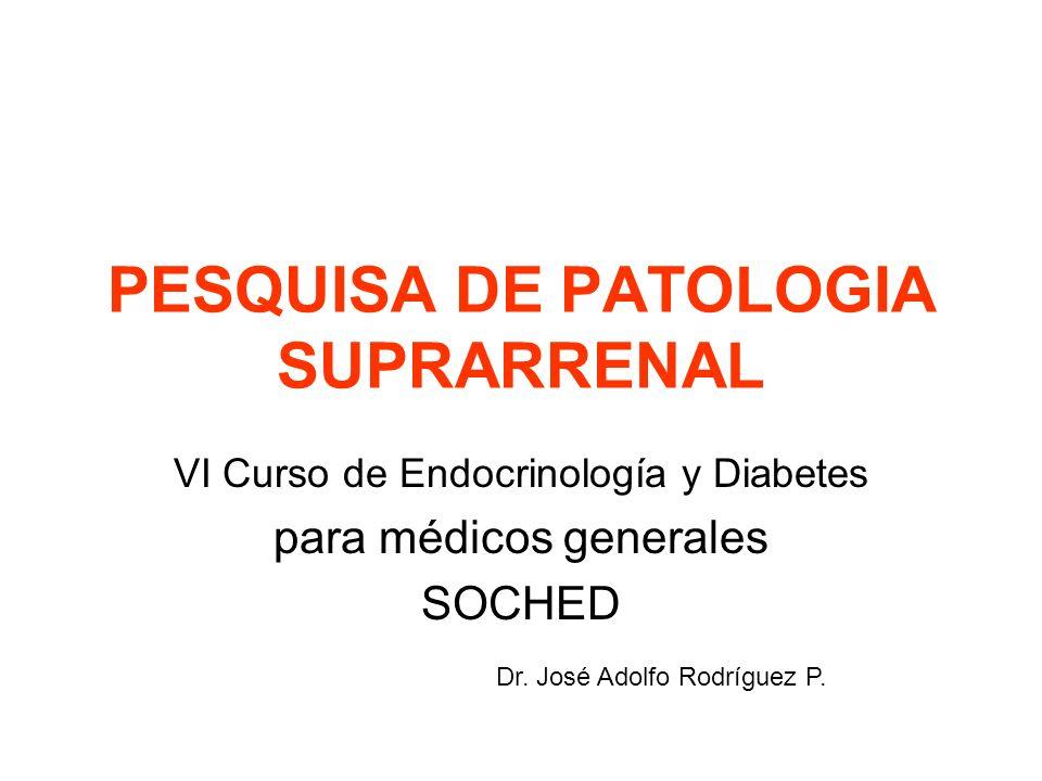 Patologías a pesquisar Insuficiencia suprarrenal Hipercortisolismo (Síndrome de Cushing) Incidentaloma suprarrenal