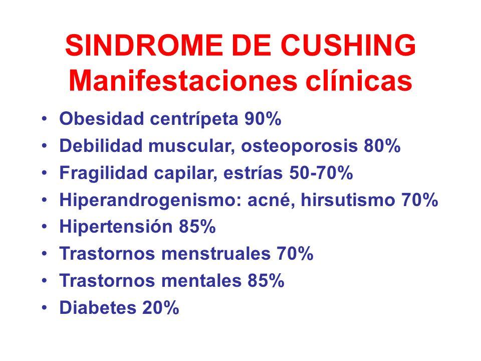 SINDROME DE CUSHING Manifestaciones clínicas Obesidad centrípeta 90% Debilidad muscular, osteoporosis 80% Fragilidad capilar, estrías 50-70% Hiperandr