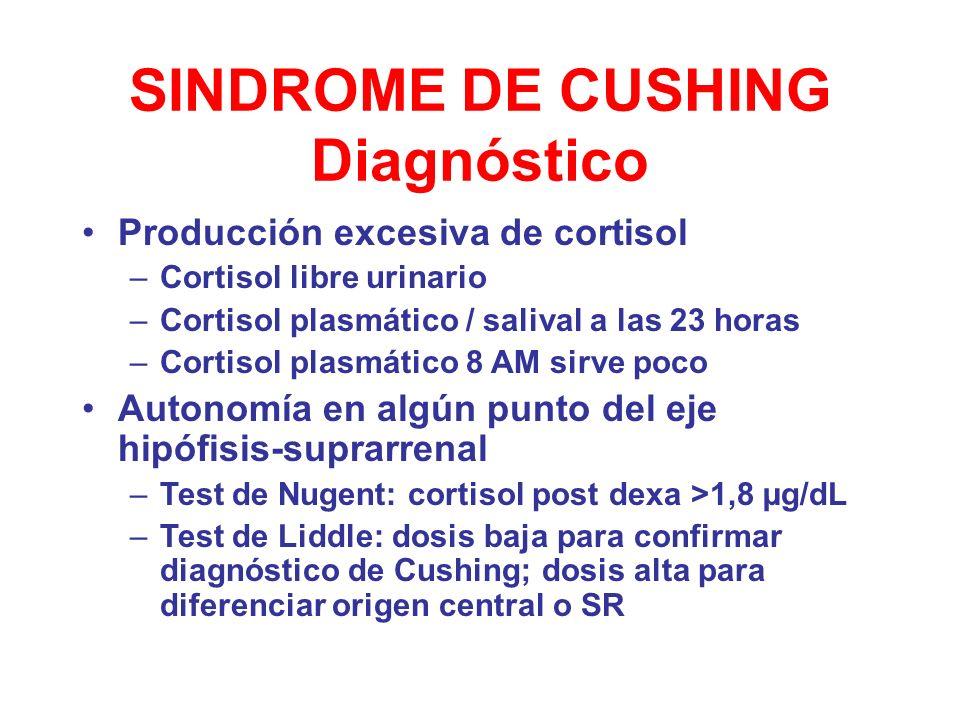 SINDROME DE CUSHING Diagnóstico Producción excesiva de cortisol –Cortisol libre urinario –Cortisol plasmático / salival a las 23 horas –Cortisol plasm