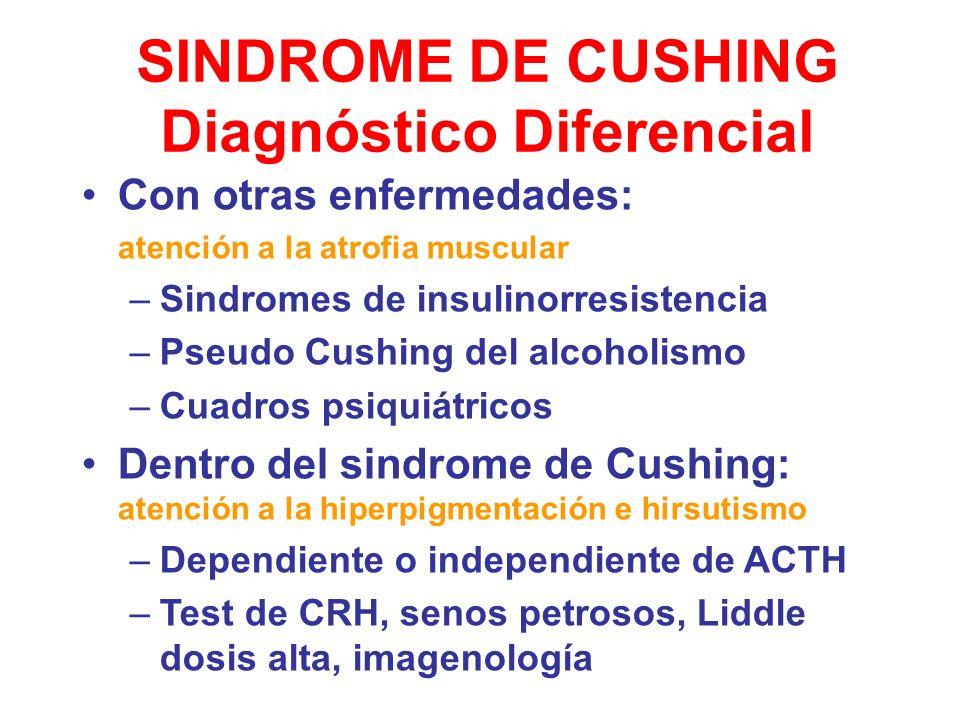 SINDROME DE CUSHING Diagnóstico Diferencial Con otras enfermedades: atención a la atrofia muscular –Sindromes de insulinorresistencia –Pseudo Cushing