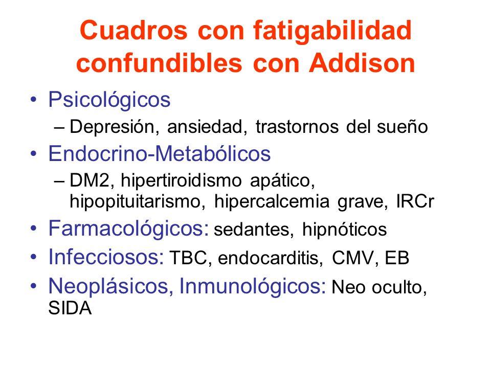 Cuadros con fatigabilidad confundibles con Addison Psicológicos –Depresión, ansiedad, trastornos del sueño Endocrino-Metabólicos –DM2, hipertiroidismo