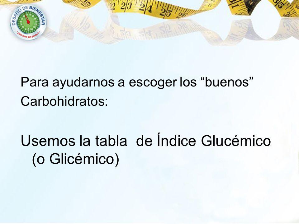 Para ayudarnos a escoger los buenos Carbohidratos: Usemos la tabla de Índice Glucémico (o Glicémico)