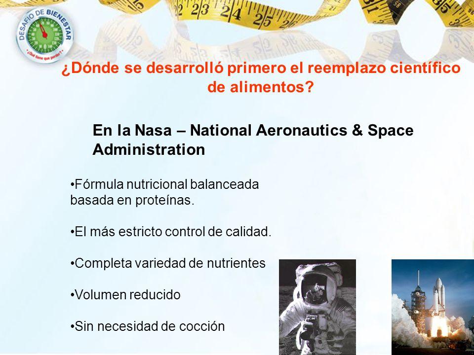 ¿Dónde se desarrolló primero el reemplazo científico de alimentos? En la Nasa – National Aeronautics & Space Administration Fórmula nutricional balanc