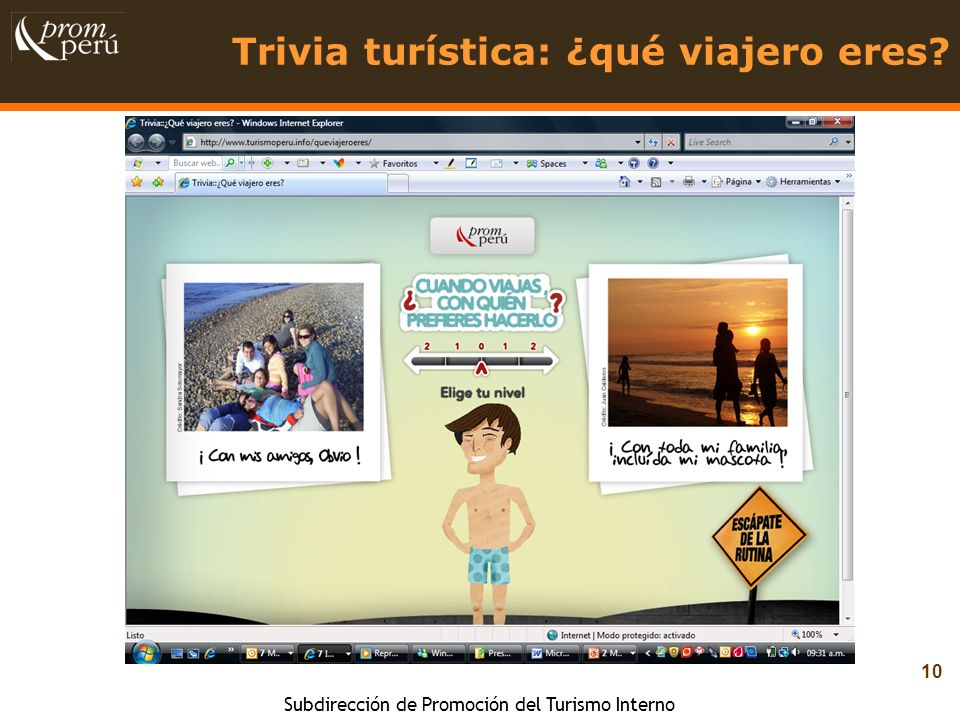 Subdirección de Promoción del Turismo Interno 10 Trivia turística: ¿qué viajero eres?