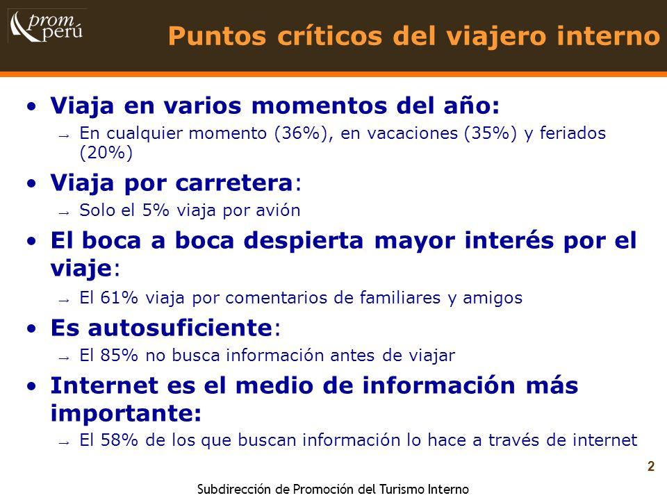 Subdirección de Promoción del Turismo Interno 2 Puntos críticos del viajero interno Viaja en varios momentos del año: En cualquier momento (36%), en v