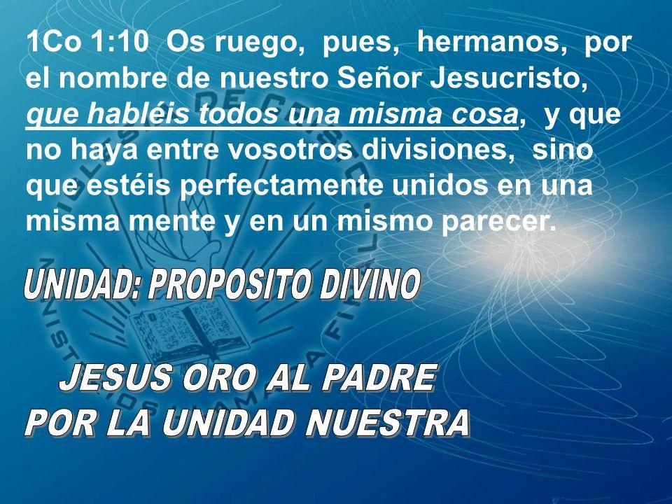 1Co 1:10 Os ruego, pues, hermanos, por el nombre de nuestro Señor Jesucristo, que habléis todos una misma cosa, y que no haya entre vosotros divisione