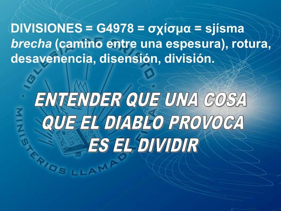 DIVISIONES = G4978 = σχίσμα = sjísma brecha (camino entre una espesura), rotura, desavenencia, disensión, división.