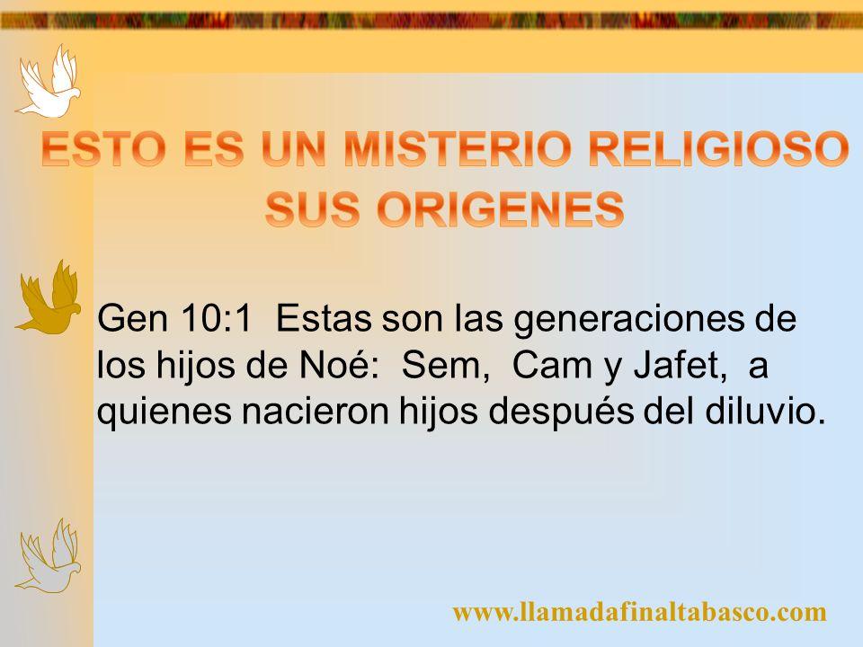 Gen 10:1 Estas son las generaciones de los hijos de Noé: Sem, Cam y Jafet, a quienes nacieron hijos después del diluvio.