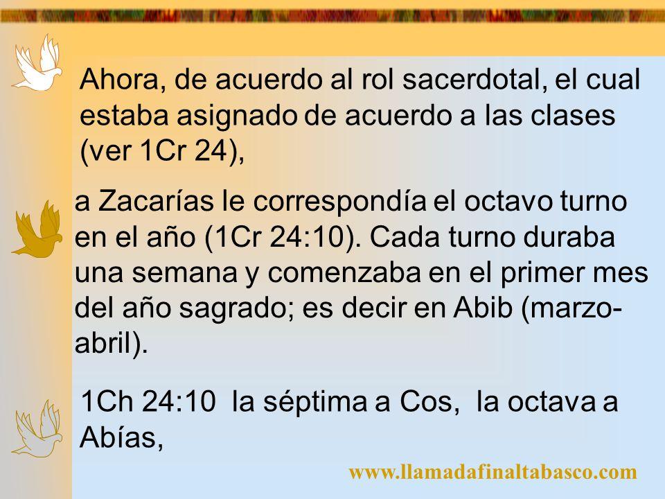 www.llamadafinaltabasco.com Ahora, de acuerdo al rol sacerdotal, el cual estaba asignado de acuerdo a las clases (ver 1Cr 24), a Zacarías le correspon