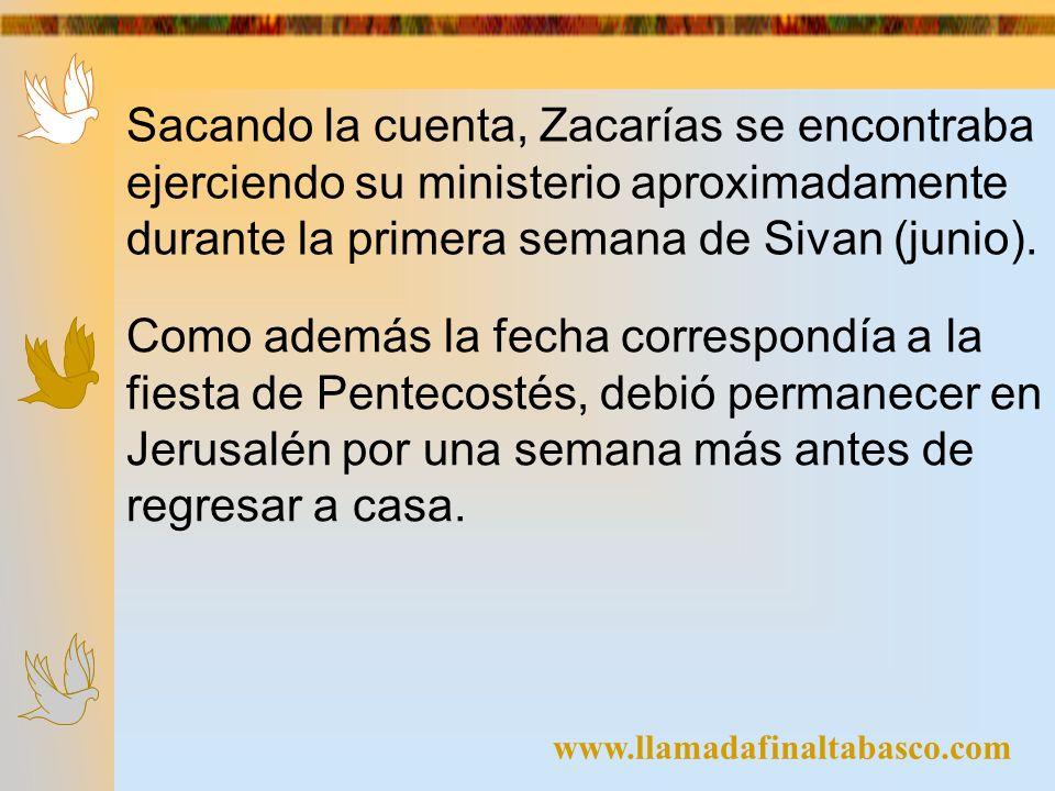 www.llamadafinaltabasco.com Sacando la cuenta, Zacarías se encontraba ejerciendo su ministerio aproximadamente durante la primera semana de Sivan (jun