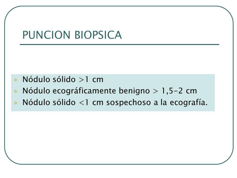 PUNCION BIOPSICA Nódulo sólido >1 cm Nódulo ecográficamente benigno > 1,5-2 cm Nódulo sólido <1 cm sospechoso a la ecografía.