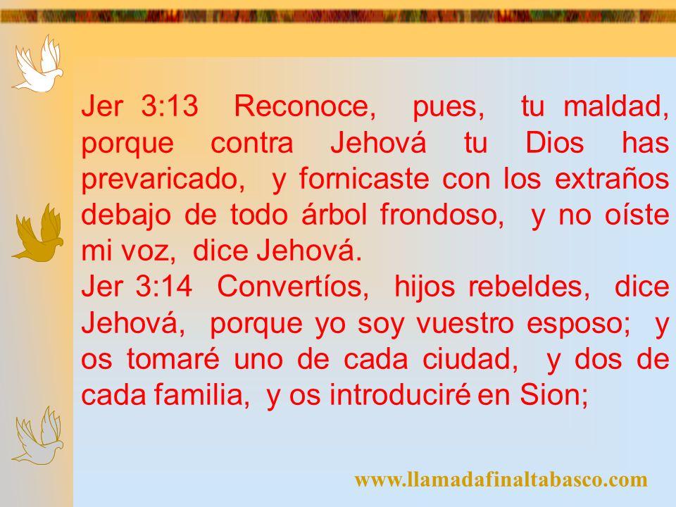 www.llamadafinaltabasco.com Jer 3:13 Reconoce, pues, tu maldad, porque contra Jehová tu Dios has prevaricado, y fornicaste con los extraños debajo de