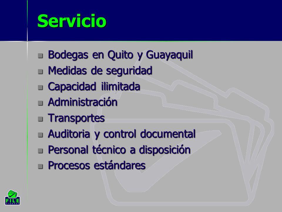 Servicio Bodegas en Quito y Guayaquil Bodegas en Quito y Guayaquil Medidas de seguridad Medidas de seguridad Capacidad ilimitada Capacidad ilimitada Administración Administración Transportes Transportes Auditoria y control documental Auditoria y control documental Personal técnico a disposición Personal técnico a disposición Procesos estándares Procesos estándares