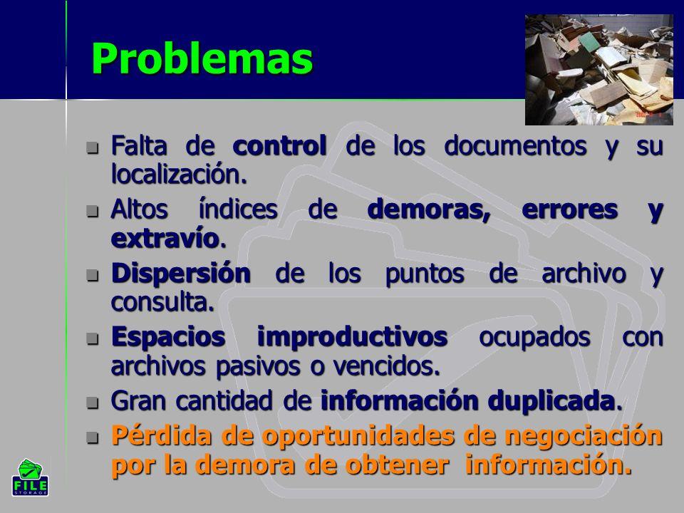 Problemas Falta de control de los documentos y su localización.