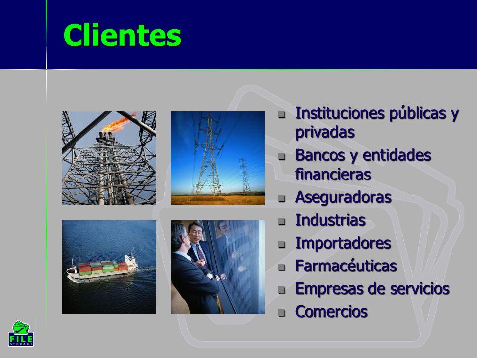 Clientes Instituciones públicas y privadas Instituciones públicas y privadas Bancos y entidades financieras Bancos y entidades financieras Aseguradoras Aseguradoras Industrias Industrias Importadores Importadores Farmacéuticas Farmacéuticas Empresas de servicios Empresas de servicios Comercios Comercios
