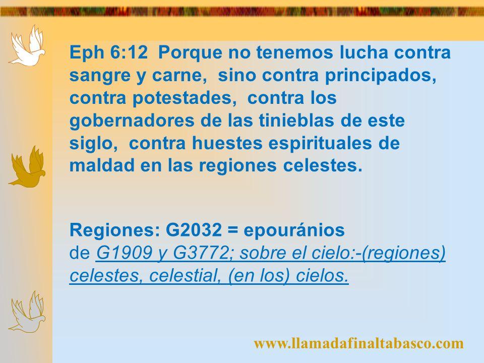 Eph 6:12 Porque no tenemos lucha contra sangre y carne, sino contra principados, contra potestades, contra los gobernadores de las tinieblas de este s