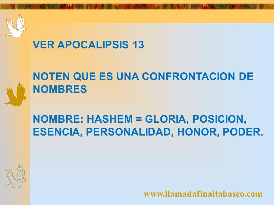 www.llamadafinaltabasco.com VER APOCALIPSIS 13 NOTEN QUE ES UNA CONFRONTACION DE NOMBRES NOMBRE: HASHEM = GLORIA, POSICION, ESENCIA, PERSONALIDAD, HON