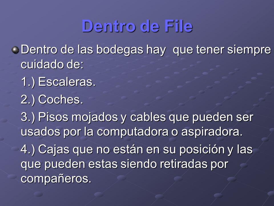 Dentro de File Dentro de las bodegas hay que tener siempre cuidado de: 1.) Escaleras. 2.) Coches. 3.) Pisos mojados y cables que pueden ser usados por