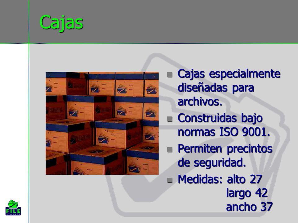 Cajas Cajas especialmente diseñadas para archivos. Cajas especialmente diseñadas para archivos. Construidas bajo normas ISO 9001. Construidas bajo nor