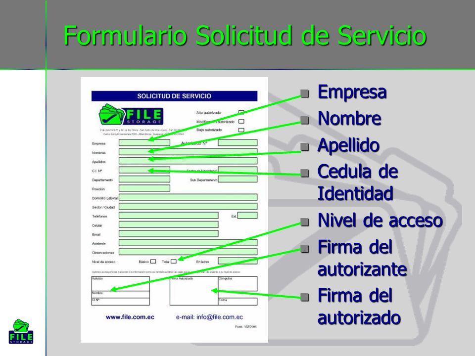 Formulario Solicitud de Servicio Empresa Nombre Apellido Cedula de Identidad Nivel de acceso Firma del autorizante Firma del autorizado