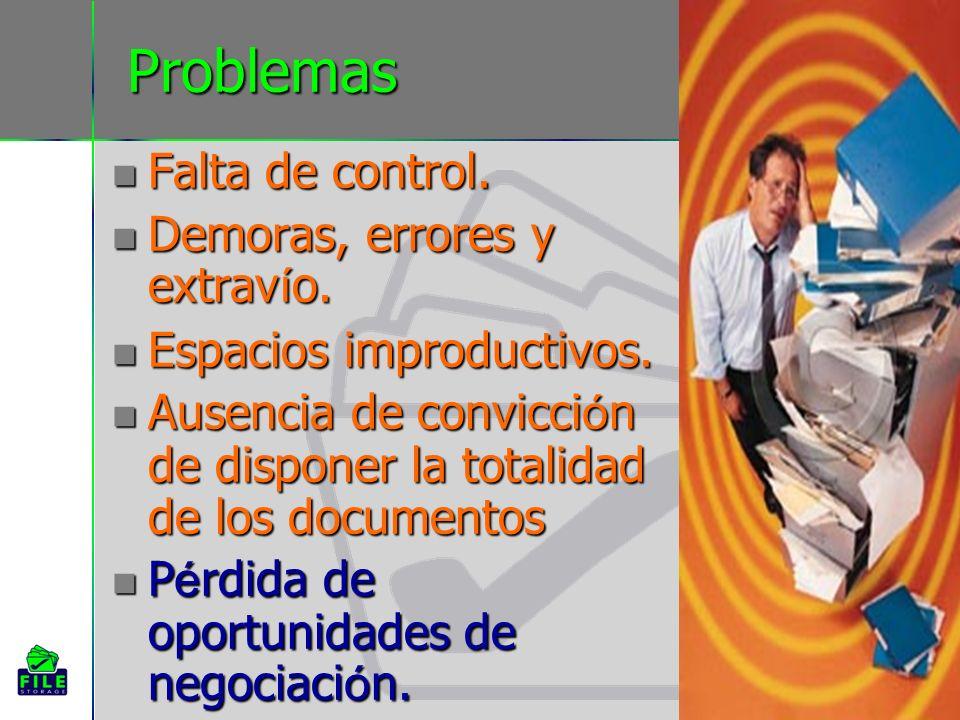 Problemas Falta de control. Falta de control. Demoras, errores y extrav í o. Demoras, errores y extrav í o. Espacios improductivos. Espacios improduct