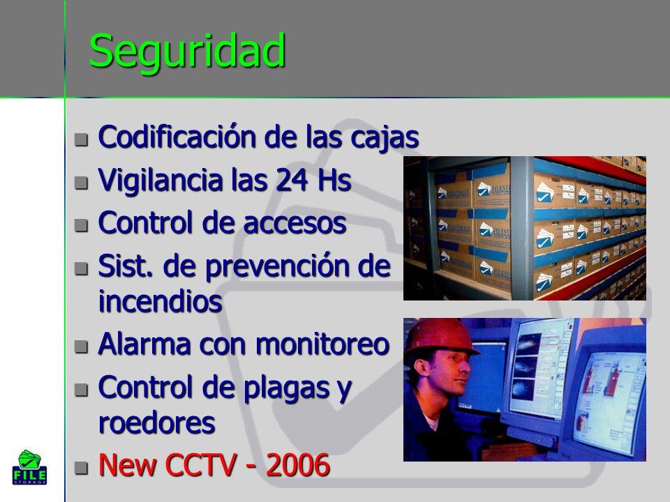 Seguridad Codificación de las cajas Codificación de las cajas Vigilancia las 24 Hs Vigilancia las 24 Hs Control de accesos Control de accesos Sist. de