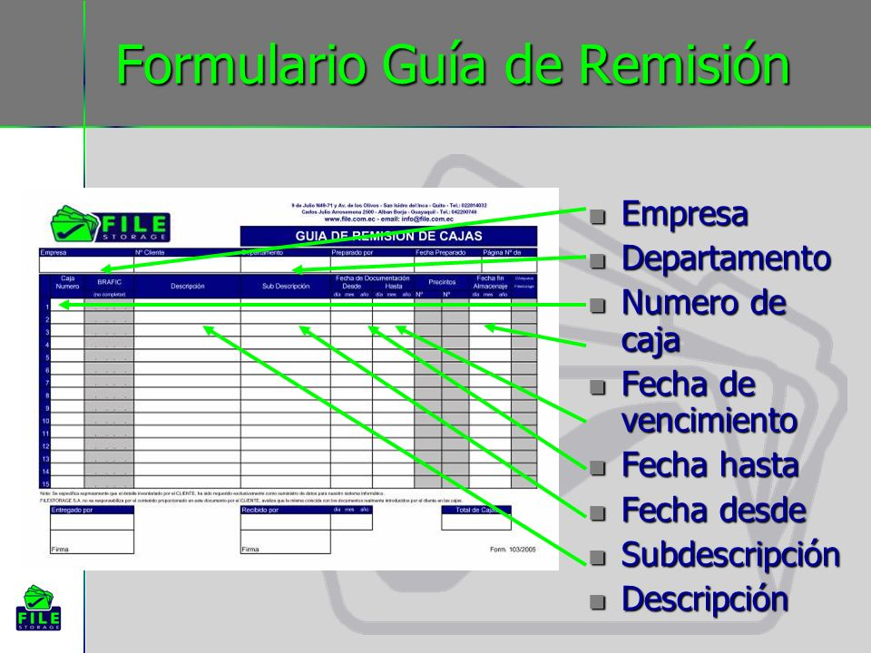 Formulario Guía de Remisión Empresa Empresa Departamento Departamento Numero de caja Numero de caja Fecha de vencimiento Fecha de vencimiento Fecha ha
