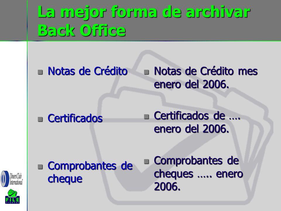 La mejor forma de archivar Back Office Notas de Crédito Notas de Crédito Certificados Certificados Comprobantes de cheque Comprobantes de cheque Notas