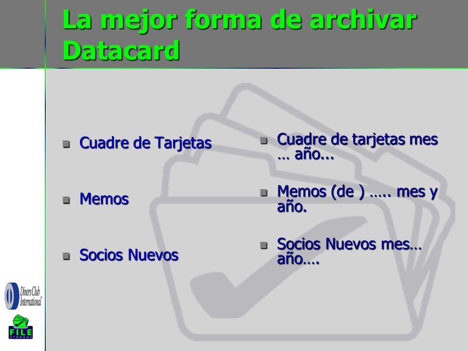 La mejor forma de archivar Datacard Cuadre de Tarjetas Cuadre de Tarjetas Memos Memos Socios Nuevos Socios Nuevos Cuadre de tarjetas mes … año... Cuad