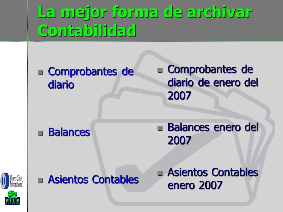 La mejor forma de archivar Contabilidad Comprobantes de diario Comprobantes de diario Balances Balances Asientos Contables Asientos Contables Comproba