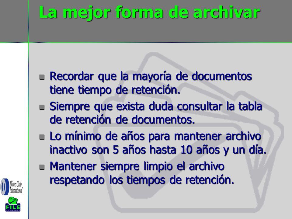 La mejor forma de archivar Recordar que la mayoría de documentos tiene tiempo de retención. Recordar que la mayoría de documentos tiene tiempo de rete