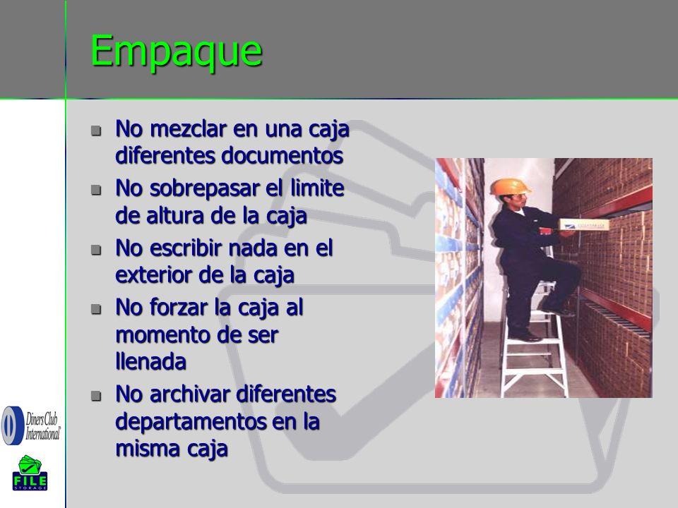 Empaque No mezclar en una caja diferentes documentos No mezclar en una caja diferentes documentos No sobrepasar el limite de altura de la caja No sobr