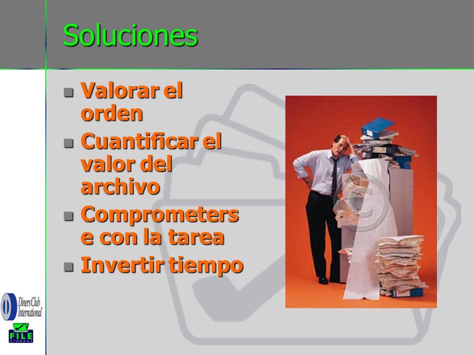 Soluciones Valorar el orden Valorar el orden Cuantificar el valor del archivo Cuantificar el valor del archivo Comprometers e con la tarea Comprometer