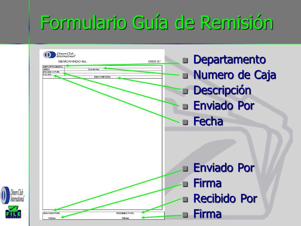 Formulario Guía de Remisión Departamento Departamento Numero de Caja Numero de Caja Descripción Descripción Enviado Por Enviado Por Fecha Fecha Enviad