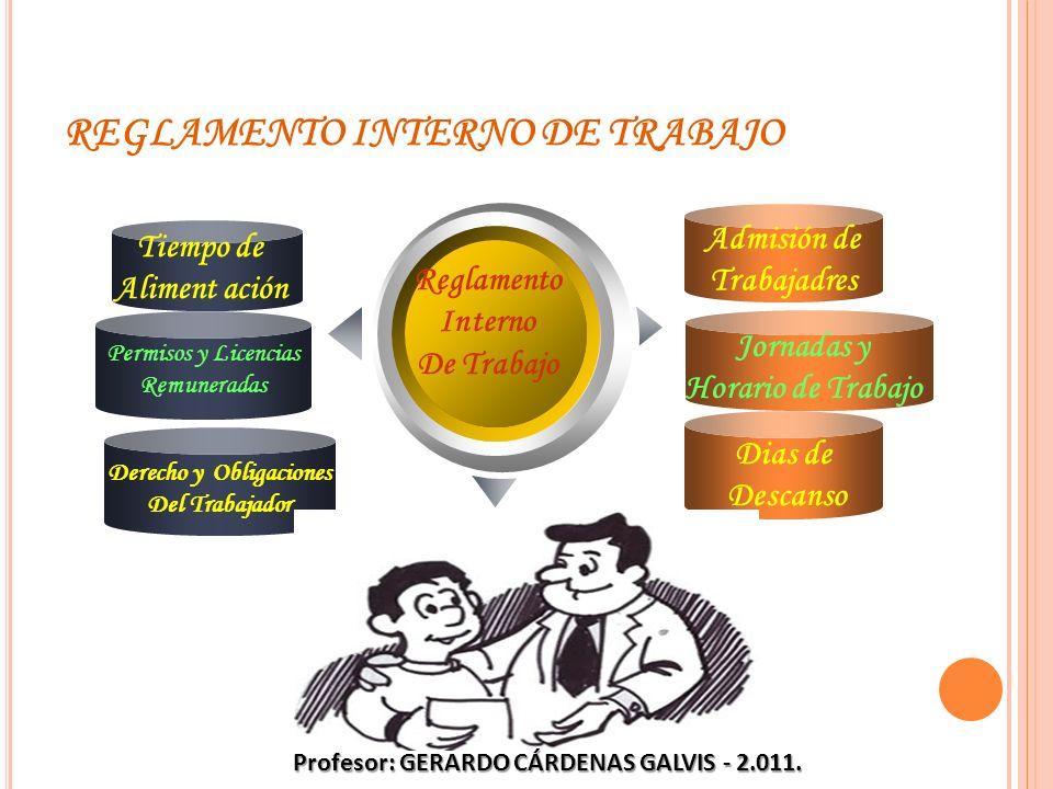 REGLAMENTO INTERNO DE TRABAJO Derecho y Obligaciones Del Trabajador Reglamento Interno De Trabajo Tiempo de Aliment ación Admisión de Trabajadres Jorn
