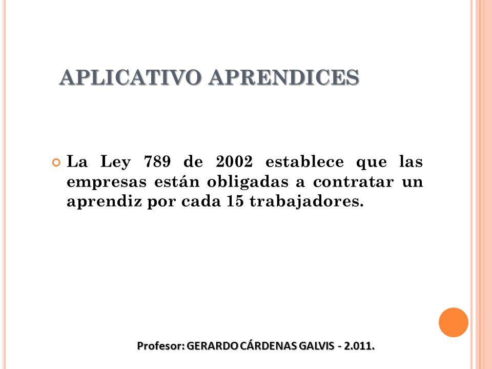 APLICATIVO APRENDICES La Ley 789 de 2002 establece que las empresas están obligadas a contratar un aprendiz por cada 15 trabajadores. Profesor: GERARD