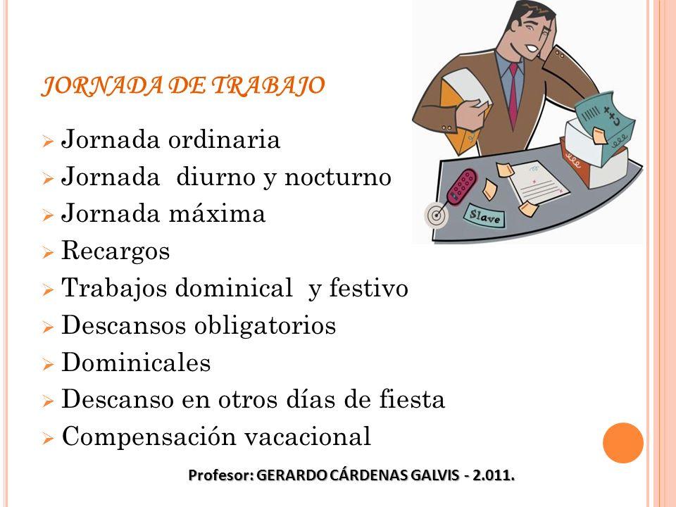 JORNADA DE TRABAJO Jornada ordinaria Jornada diurno y nocturno Jornada máxima Recargos Trabajos dominical y festivo Descansos obligatorios Dominicales