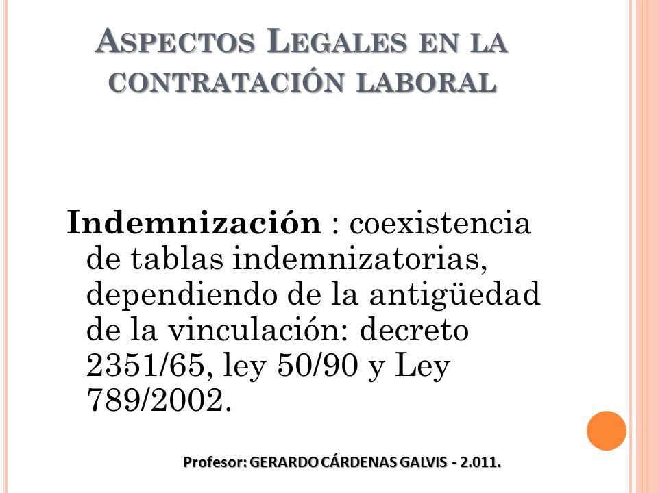 A SPECTOS L EGALES EN LA CONTRATACIÓN LABORAL Indemnización : coexistencia de tablas indemnizatorias, dependiendo de la antigüedad de la vinculación: