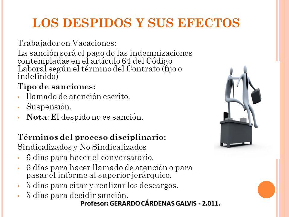 LOS DESPIDOS Y SUS EFECTOS Trabajador en Vacaciones: La sanción será el pago de las indemnizaciones contempladas en el artículo 64 del Código Laboral