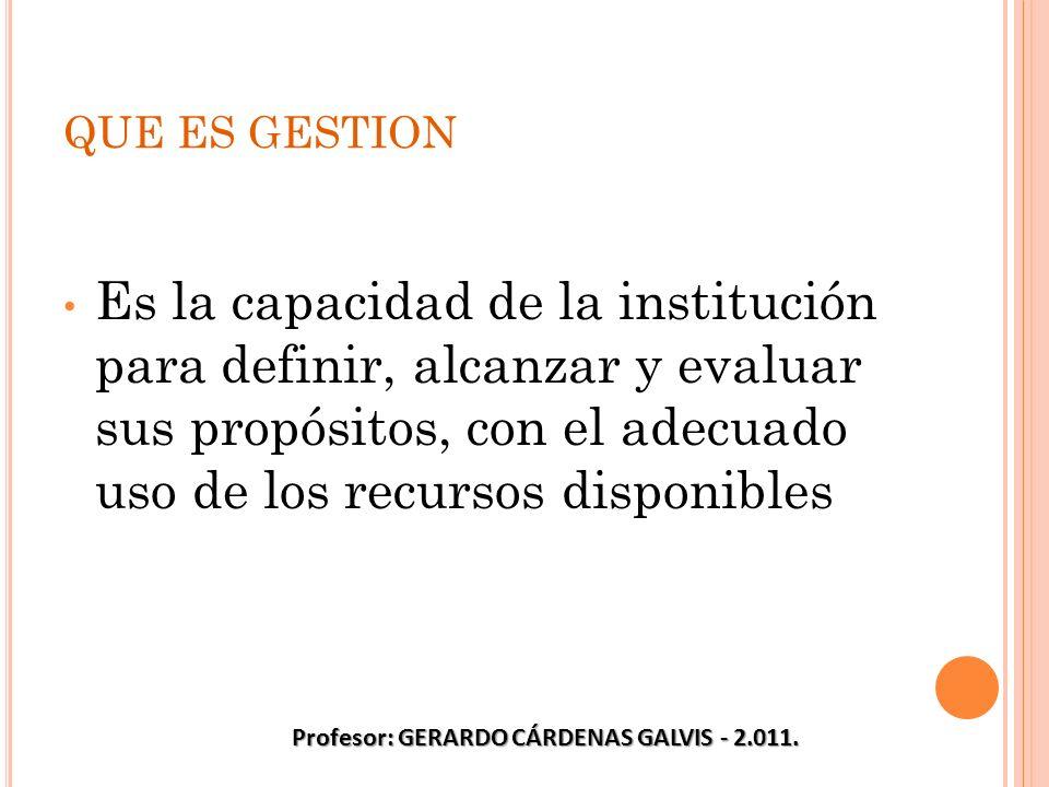 QUE ES GESTION Es la capacidad de la institución para definir, alcanzar y evaluar sus propósitos, con el adecuado uso de los recursos disponibles Prof