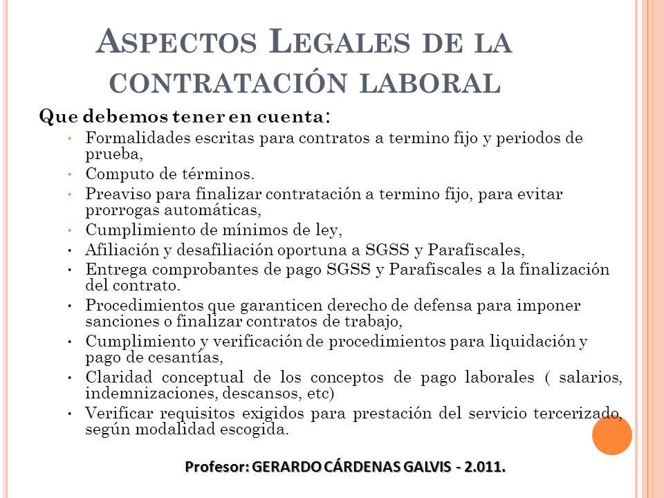 A SPECTOS L EGALES DE LA CONTRATACIÓN LABORAL Que debemos tener en cuenta : Formalidades escritas para contratos a termino fijo y periodos de prueba,