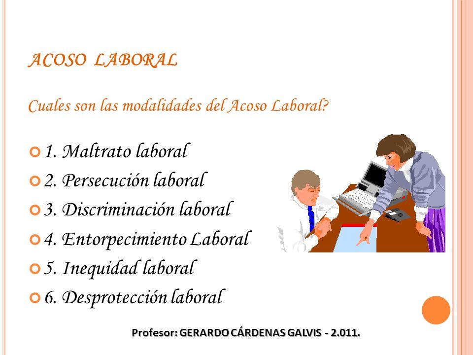 ACOSO LABORAL 1. Maltrato laboral 2. Persecución laboral 3. Discriminación laboral 4. Entorpecimiento Laboral 5. Inequidad laboral 6. Desprotección la