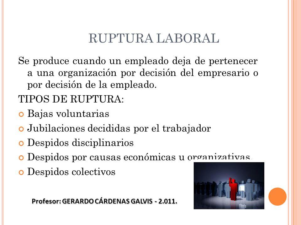RUPTURA LABORAL Se produce cuando un empleado deja de pertenecer a una organización por decisión del empresario o por decisión de la empleado. TIPOS D