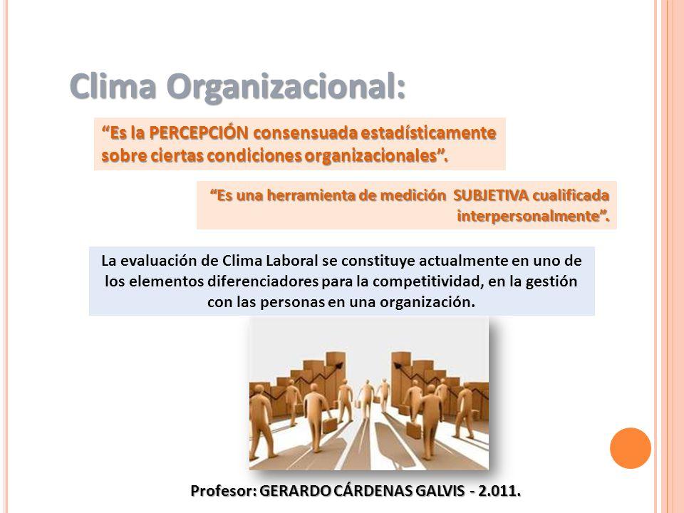 Es la PERCEPCIÓN consensuada estadísticamente sobre ciertas condiciones organizacionales. Clima Organizacional: La evaluación de Clima Laboral se cons